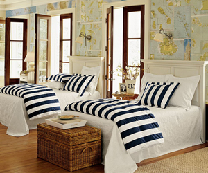 bedroom, bed, and stripes image