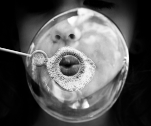 black and white, blow, and bubble image