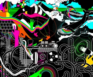 electro, colorful, and illustration image