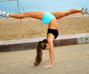 girl, beach, and fit image