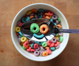 smile, cereal, and food image