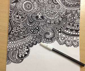 black and white, doodle, and fine image