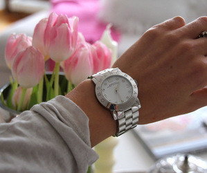 fashion, watch, and flowers image