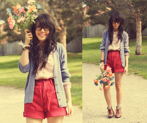 fashion, flowers, and hipster image