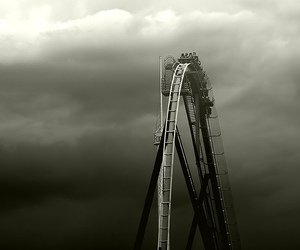 Roller Coaster, black and white, and fun image