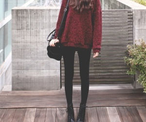 outfit, skinny, and red image