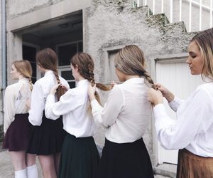 boarding school, girls, and braiding hair image