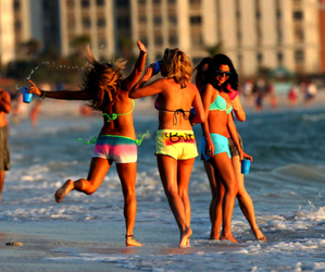 spring breakers, selena gomez, and beach image
