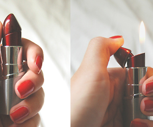 lipstick, lighter, and red image
