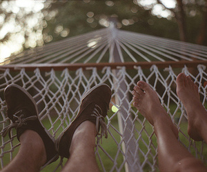 couple, feet, and hammock image