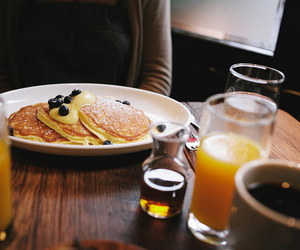 food, blueberry, and pancakes image