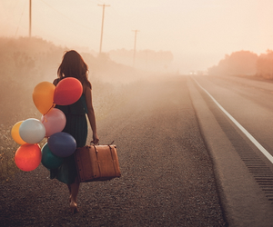 balloons, girl, and road image