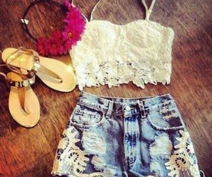 high waisted shorts, ootd, and summer image