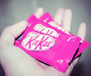 chocolate, kitkat, and pink image
