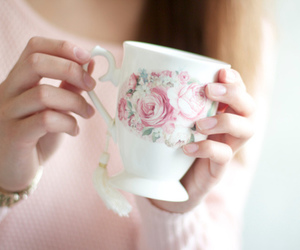 cup, pink, and rose image