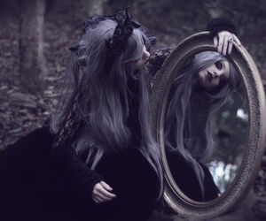 mirror, dark, and forest image