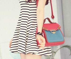 bag, stripes, and dress image
