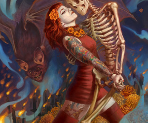 dance, skeleton, and art image