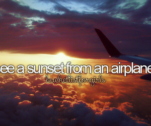 sunset, airplane, and travel image