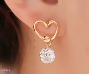 crystal, earrings, and heart image