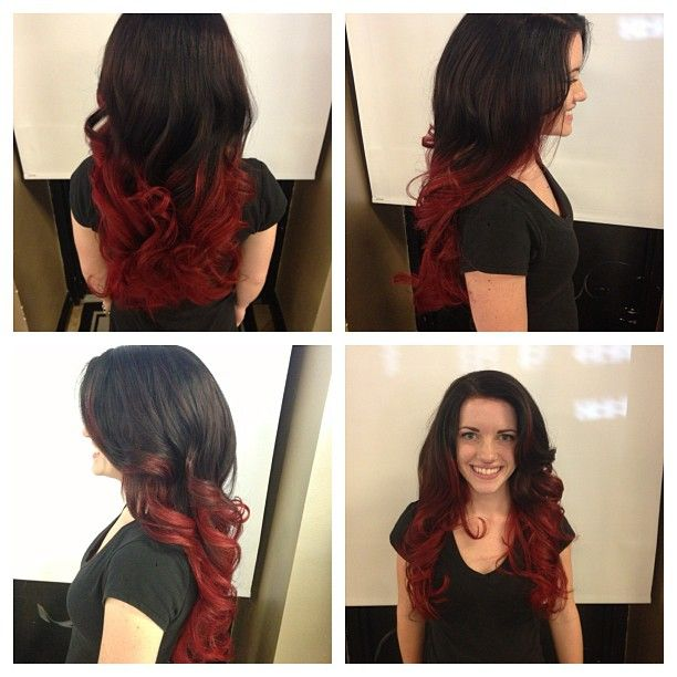 Dark Brown To Bright Red Ombre Brown To Red Ombre Ombre Beauty