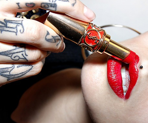 tattoo, lipstick, and red image