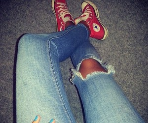 converse, ripped jeans, and style image
