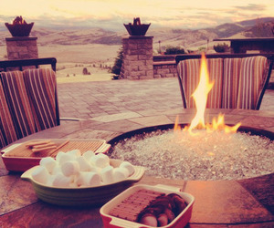 fire, marshmallow, and food image