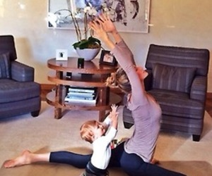 baby, family, and yoga image