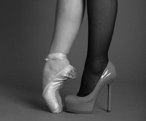 ballerina, ballet shoes, and black and white image