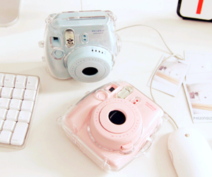 blue, pink, and camera image