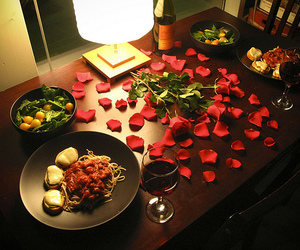 dinner, rose, and romantic image