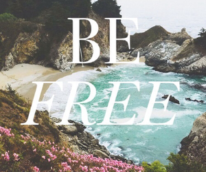 quote, be free, and beach image