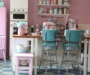 kitchen, pink, and interior image