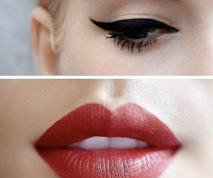 beauty, make-up, and red lips image