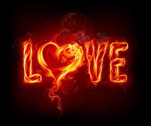 love, fire, and heart image