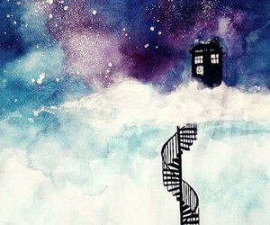 doctor who, tardis, and clouds image