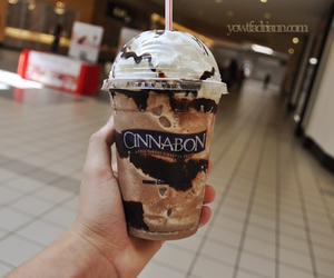 cinnabon, yum, and drink image