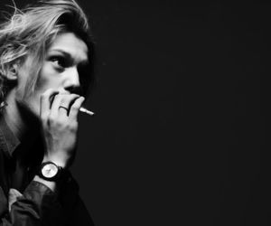 Jamie Campbell Bower, black and white, and smoke image