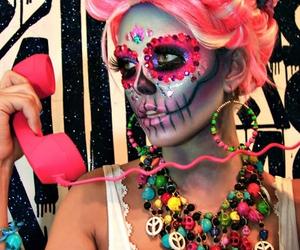 pink, makeup, and sugar skull image