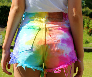 fashion, rainbow, and shorts image
