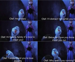 olaf, frozen, and anna image