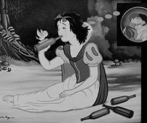 black and white, disney, and funny image