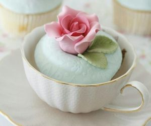 rose, cute, and cupcake on a cup image