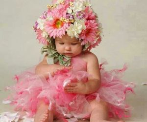 flowers, baby, and pink image