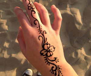 beach, converse, and henna image