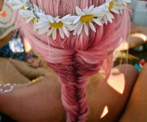 black, flowers, and hair pink image