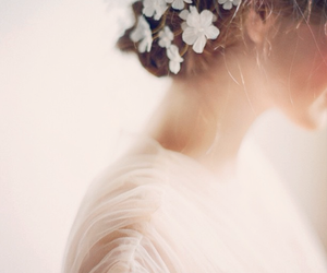 flower, hair, and girl image
