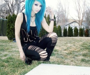 blue hair, girl, and goth image