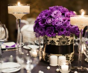 flowers, candle, and purple image